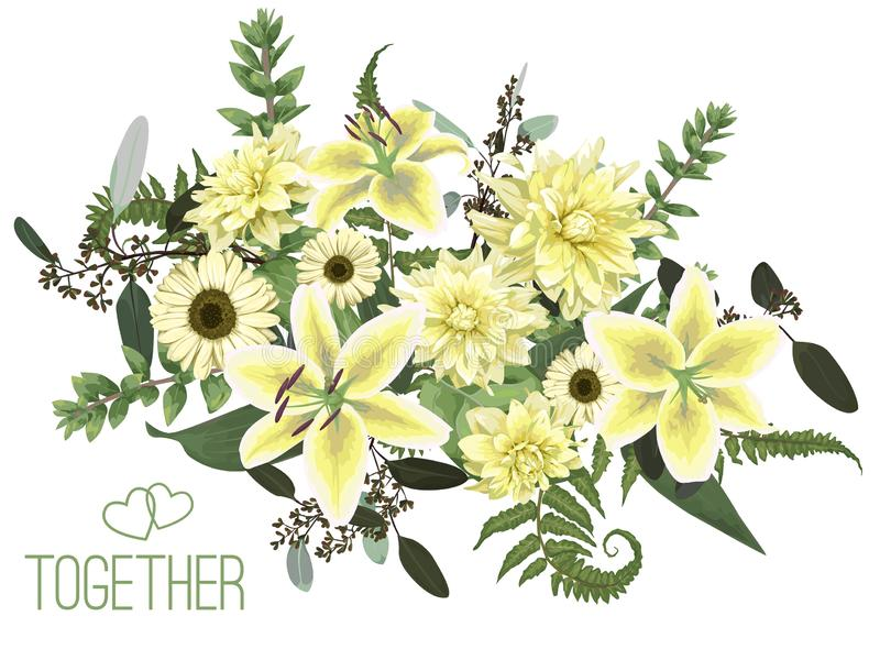 Vector floral bouquet design, green forest leaf, fern, branches, buxus, eucalyptus. Flowers of yellow, white lily, gerbera, dahlia. Brunia. Watercolor style royalty free illustration