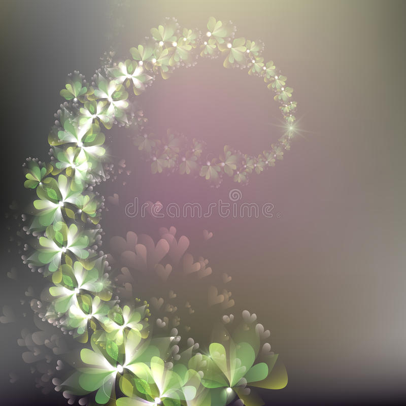 Vector floral branch, delicate floral stock photo