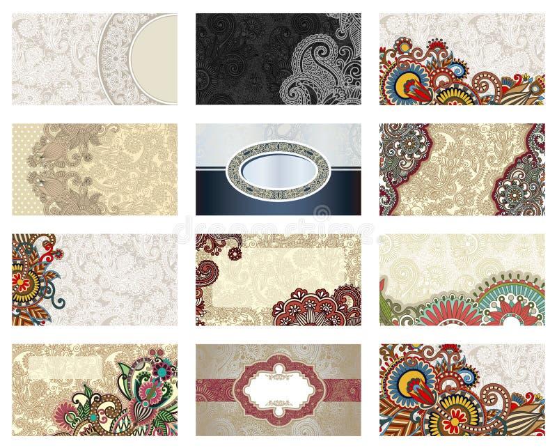 Vector floral business card set stock illustration