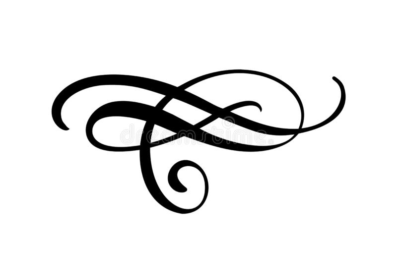 Vector floral calligraphy element flourish border, divider for page decoration and frame design illustration swirl. Decorative vector illustration