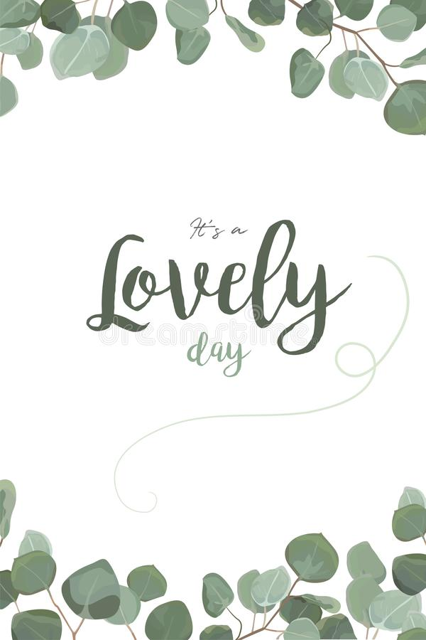 Vector floral card design: Eucalyptus silver dollar greenery, foliage natural tropical branch leaf frame in watercolor style. royalty free illustration