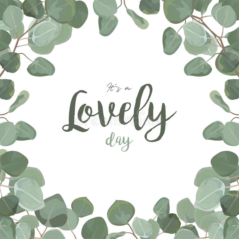 Vector floral card design: Eucalyptus silver dollar greenery fol stock illustration