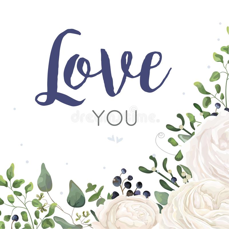 Vector floral card Design with watercolor white ranunculus flower blue berry eucalyptus mistletoe fern leaf bouquet border. Weddin. G invite, invitation stock illustration