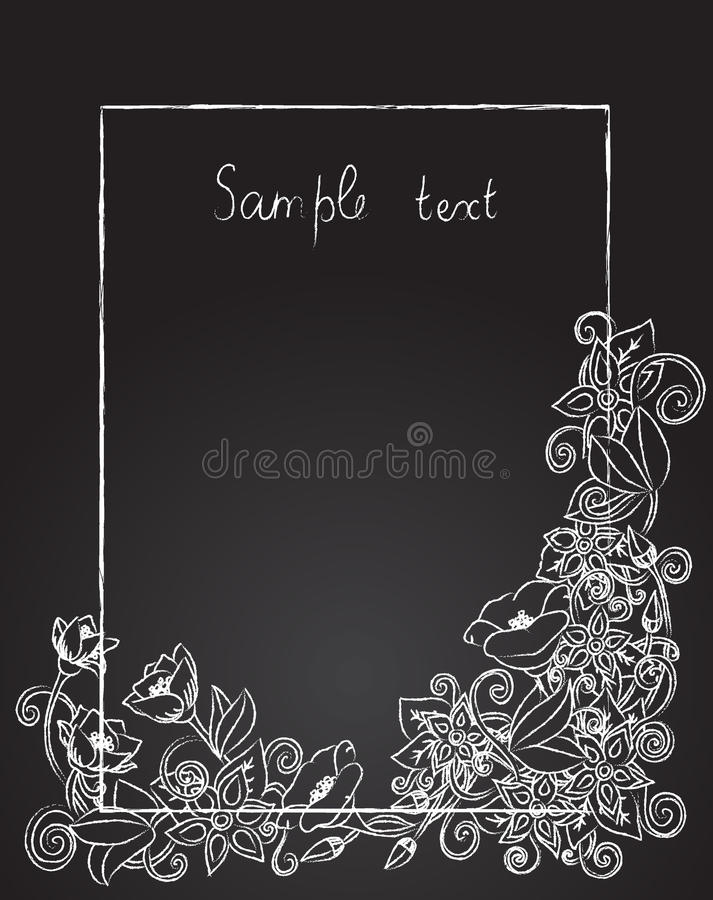 Vector floral card, hand drawn retro flowers and leaves on the dark background. stock images