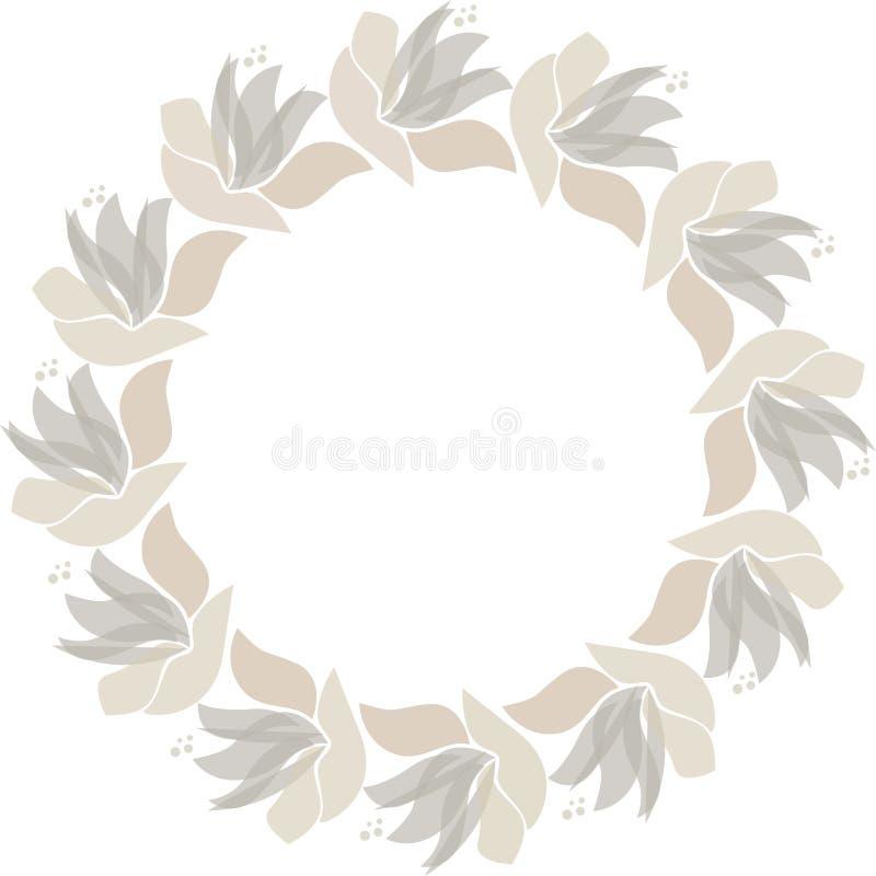 Vector floral circle frame. Scandinavian style illustration vector illustration