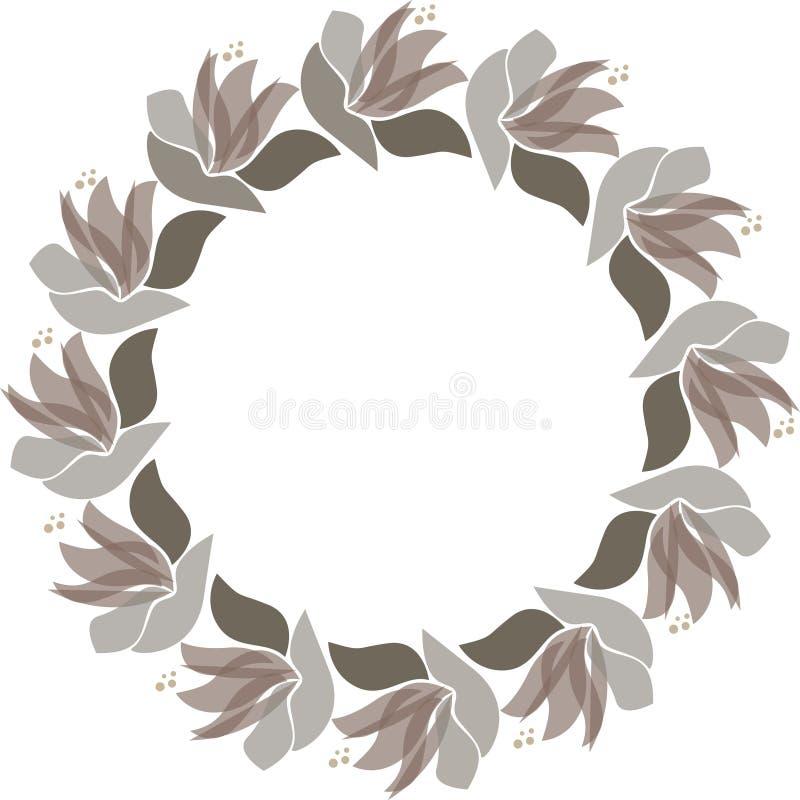 Vector floral circle frame. Scandinavian style illustration royalty free illustration