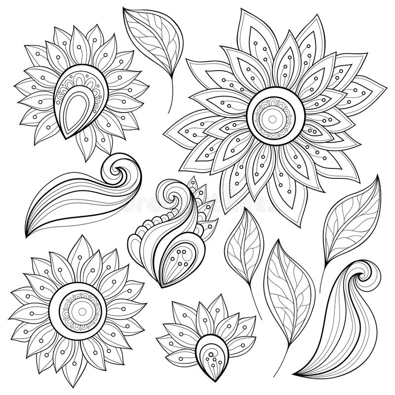 Vector Floral Collection of Hand Drawn Design Elements stock illustration