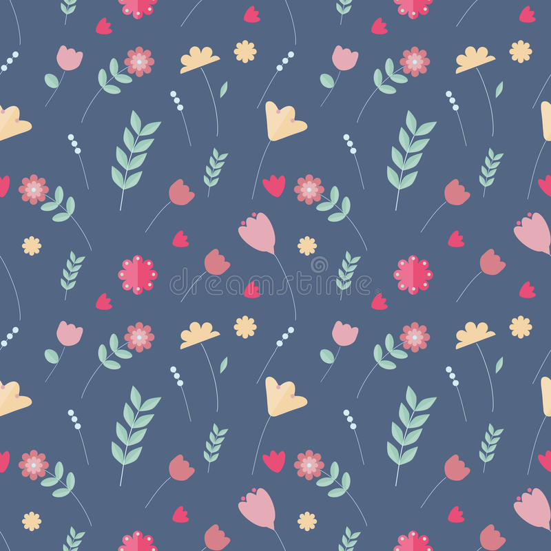 Floral colorful seamless pattern. Scandinavian style vector illustration
