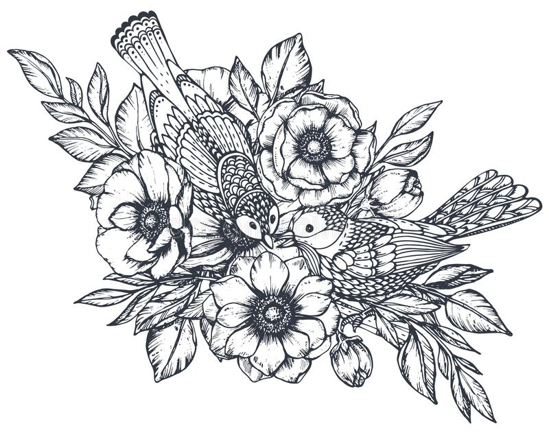 Vector floral composition of hand drawn anemone flowers and ornate birds vector illustration
