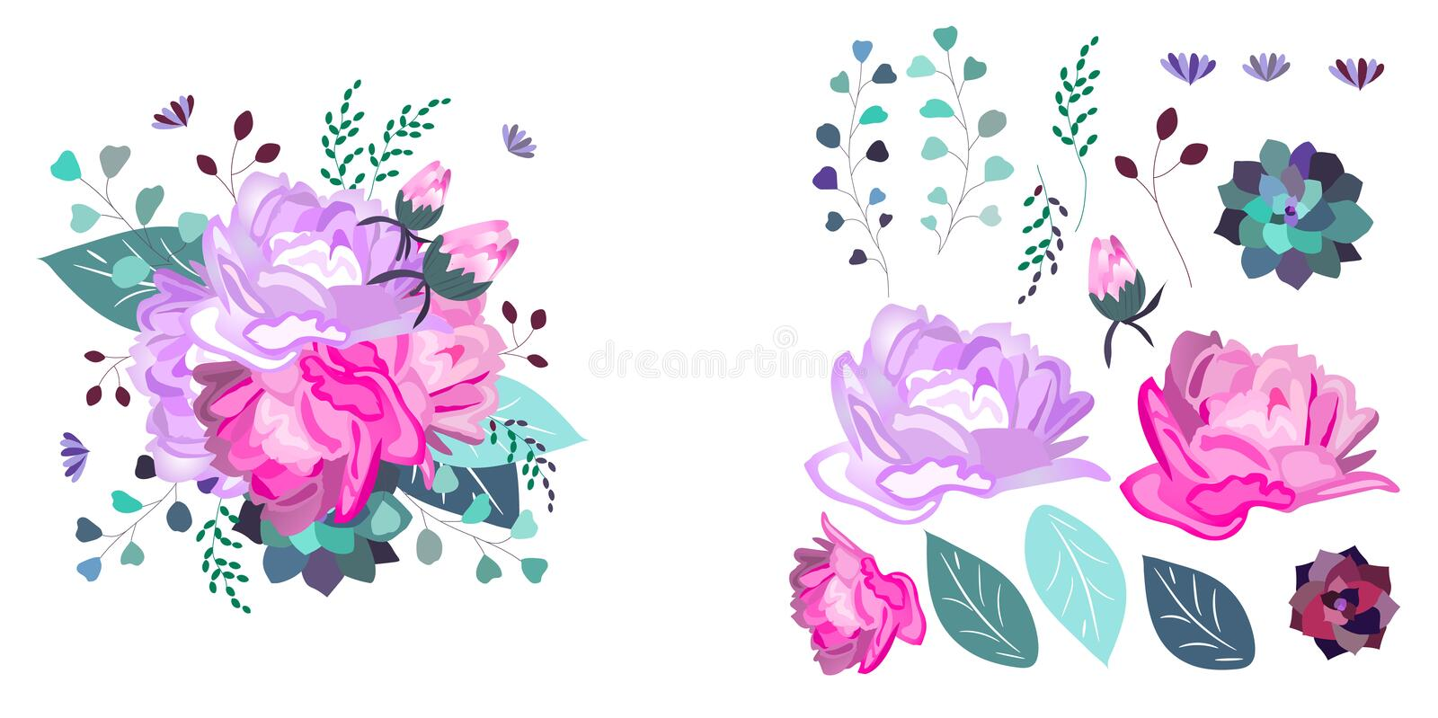 Vector floral composition and isolated objects. Summer,spring,celebration design. vector illustration