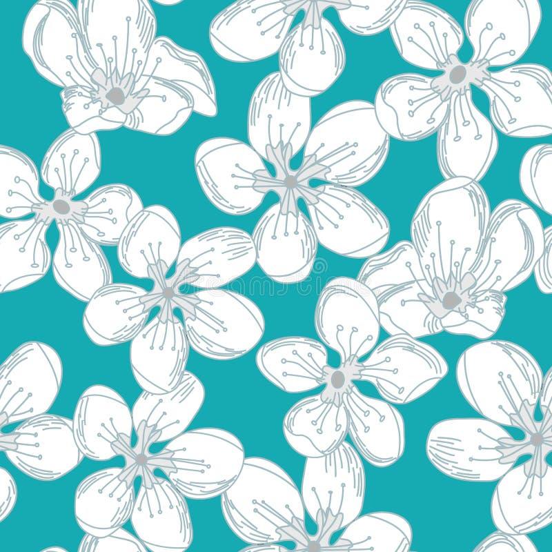 Vector floral con las flores blancas en Teal Green Seamless Repeat Pattern stock de ilustración