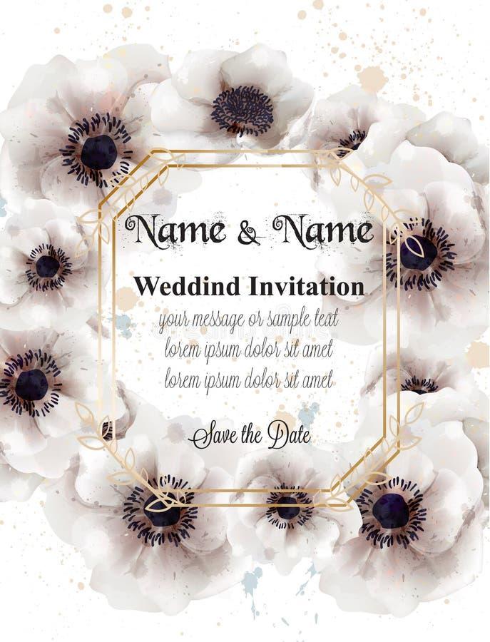 Vector floral de la guirnalda de las amapolas blancas Invitación de boda hermosa Fondos delicados libre illustration