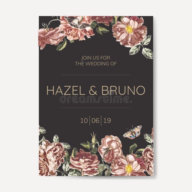Vector floral de la maqueta de la invitación que se casa stock de ilustración