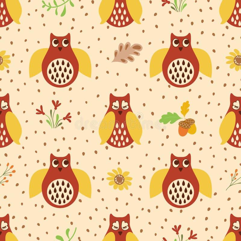 Vector floral de los elementos del modelo de la mano del búho del otoño de los colores de fondo amarillos rojos inconsútiles exha stock de ilustración
