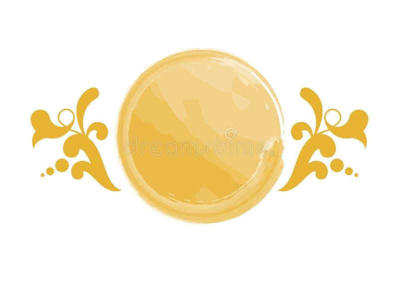 Vector floral de oro del logotipo de la acuarela ilustración del vector