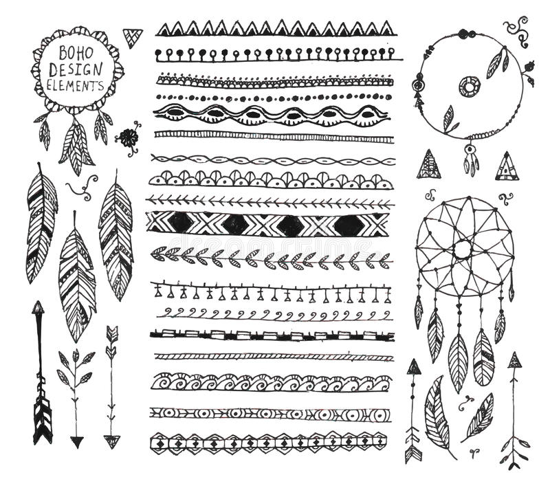 Vector floral decor set, collection of hand drawn doodle boho style dividers, borders, arrows design elements, dream stock illustration