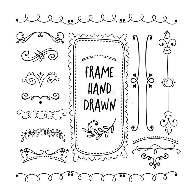 Vector floral decor set of hand drawn Doodle frames, dividers, b vector illustration