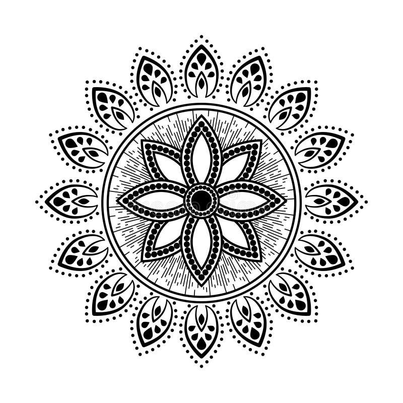 Vector floral del diseño del elemento de la ronda blanco y negro del tatuaje del estilo de la mandala ilustración del vector