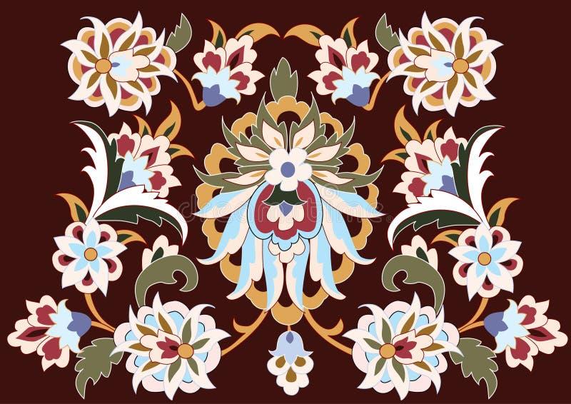 Vector. Floral design on brown stock illustration