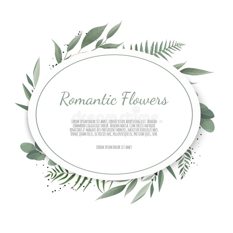 Vector floral design card. Greeting, postcard wedding invite template. Elegant frame with rose and anemone.  vector illustration