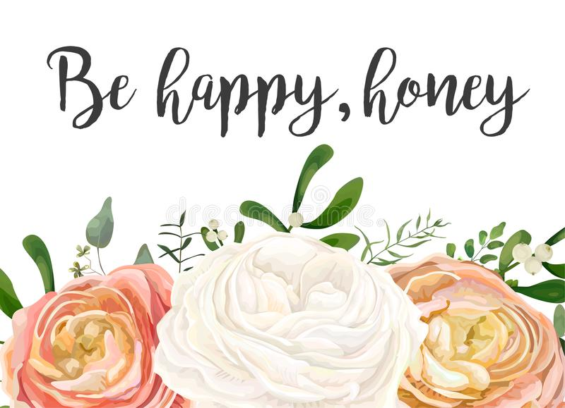 Vector floral design card. Peach pink white garden Rose Ranunculus flowers, eucalyptus seeded branch, mistletoe leaves, berry. Bouquet. Greeting postcard vector illustration