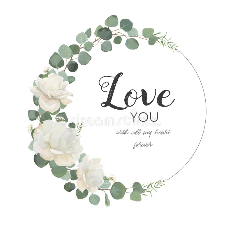 Vector floral design card. White Rose cute flower Eucalyptus bra royalty free illustration