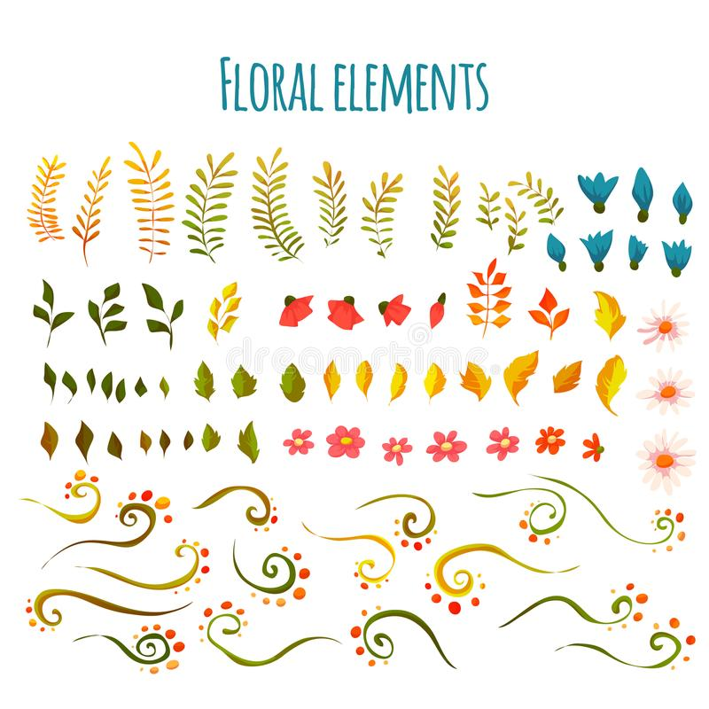 Vector floral element. Flowers and grass. Hand drawn royalty free stock image