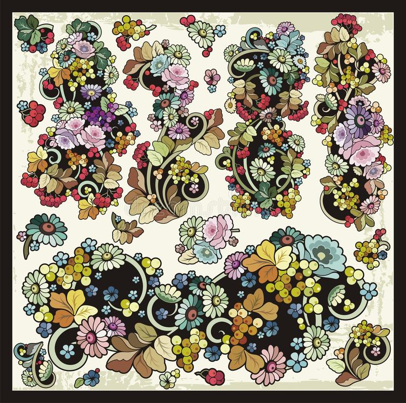 Vector Floral Flourishes Ornamental Clipart Set royalty free illustration