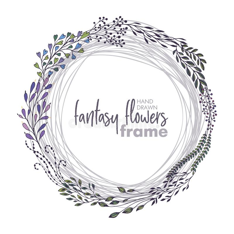 Vector floral frame with bouquets of hand drawn fantasy flowers royalty free illustration