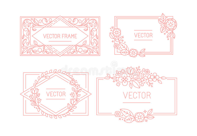 Vector floral frame with copy space for text in trendy mono line vector illustration
