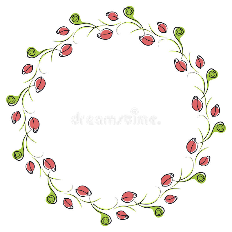 Vector Floral Frame. Cute Border In The Shape Of Circle With ...