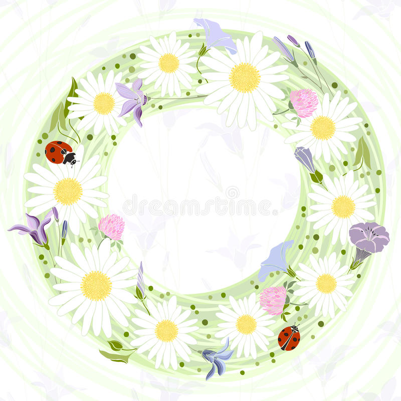 Vector floral frame. Illustration with floral wreath and with pl royalty free illustration