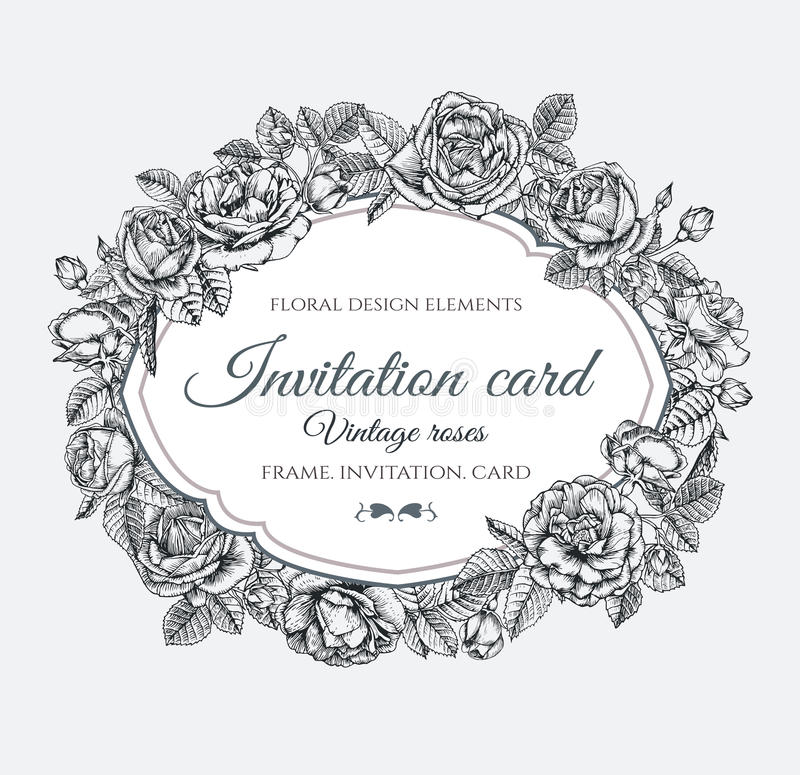 Vector floral frame with roses in vintage style. Invitation card with hand drawn flowers royalty free illustration