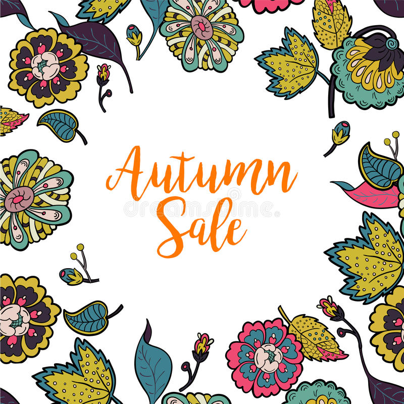 Vector floral frame with text Autumn Sale. stock illustration