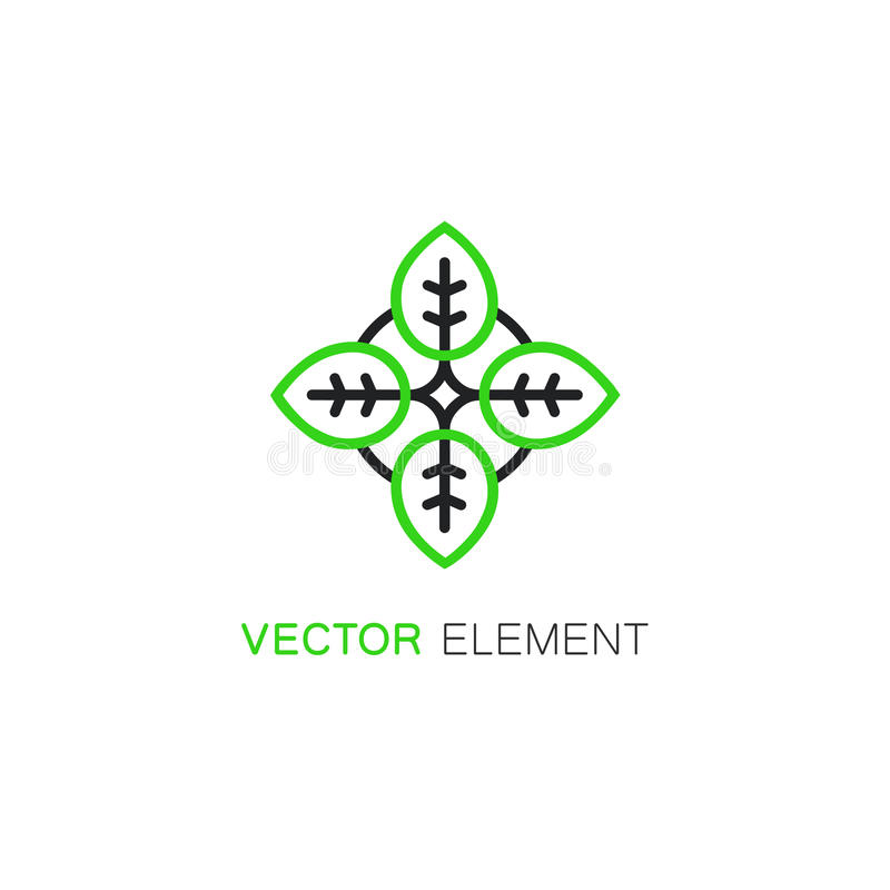 Vector floral icon and logo design template in linear style royalty free stock photos