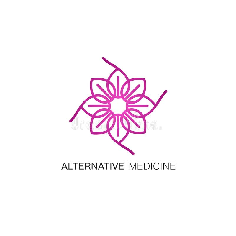 Vector floral icon and logo design template in outline style - abstract monogram for alternative medicine. royalty free illustration
