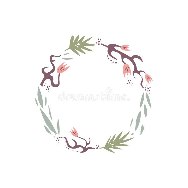 Vector floral illustration, frame or wreath, scrapbook design, pastel florals set, template for logo stock illustration