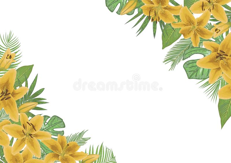 Vector floral invitation, invite model. Watercolor style tropical palm leaves, monstera, kentia palm trees, diffenbachia, coconut. Yellow lily. Horizontal royalty free illustration