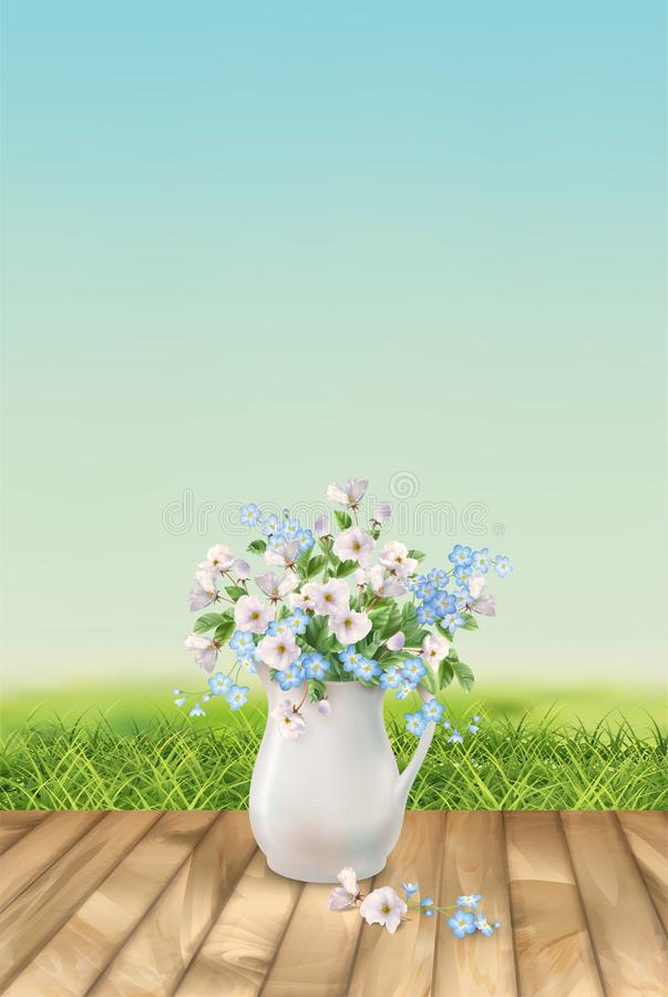 Vector Floral Landscape. With grass and beautiful bouquet in white pitcher royalty free illustration