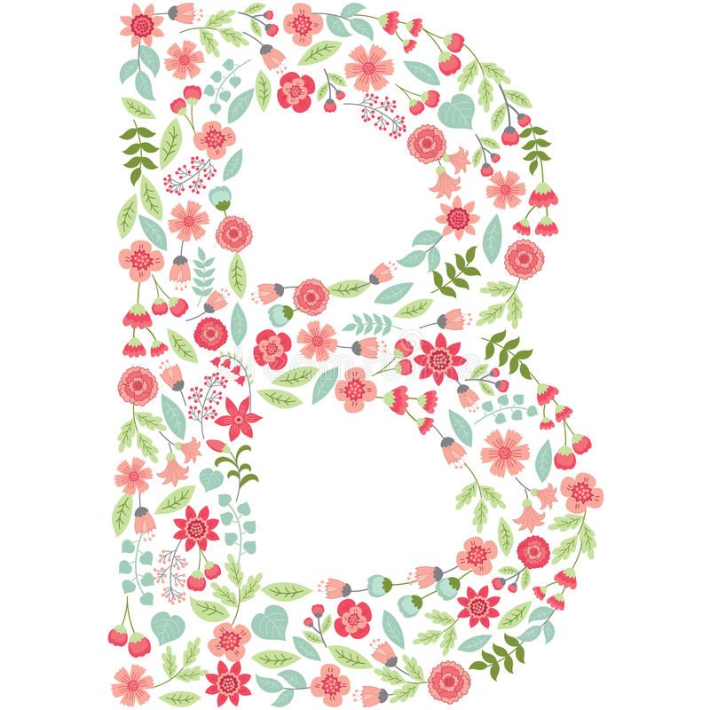 Vector Floral Letter B. Vector Floral Abc. English Floral