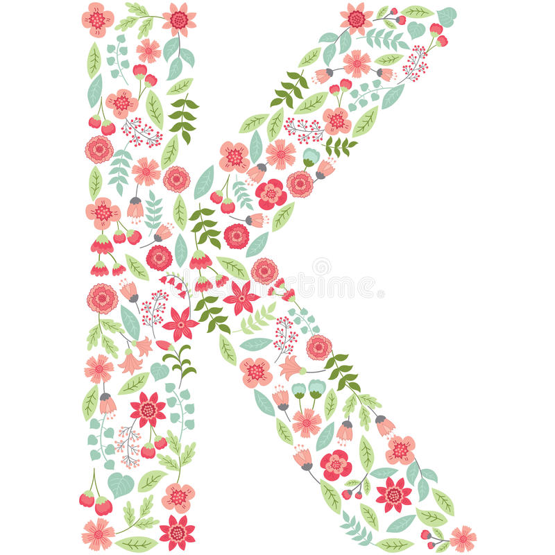vector floral letter k vector floral abc english floral stock