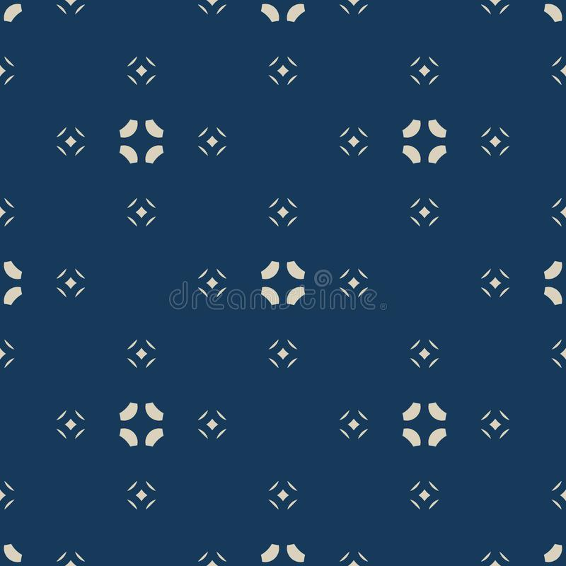 Vector floral minimalist seamless pattern. Simple gold and blue abstract texture stock illustration