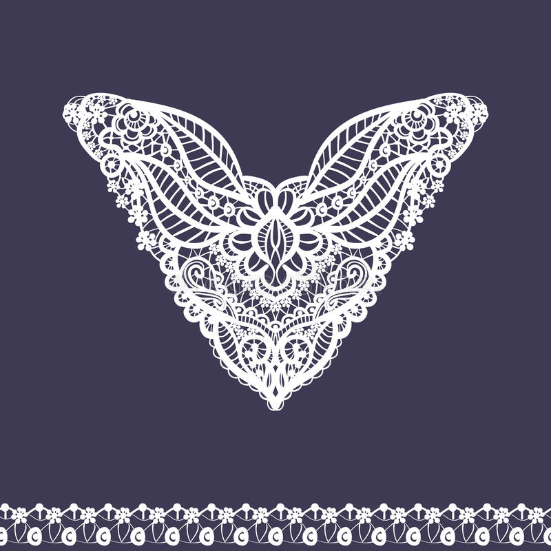 Vector floral neckline and lace border design for fashion. Flowers and leaves neck print. Chest lace embellishment. Ethnic indian ornament stock illustration