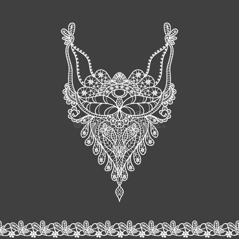 Vector floral neckline and lace border design for fashion. Flowers and leaves neck print. Chest lace embellishment. Ethnic indian ornament vector illustration