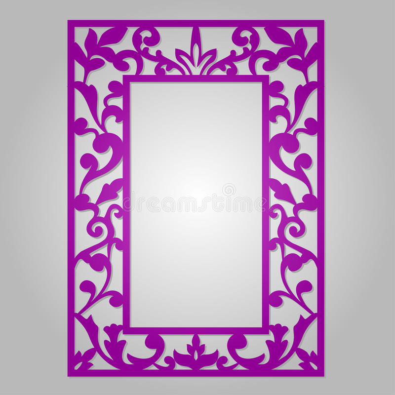 Vector floral ornamental cutout panel for laser cutting. royalty free illustration