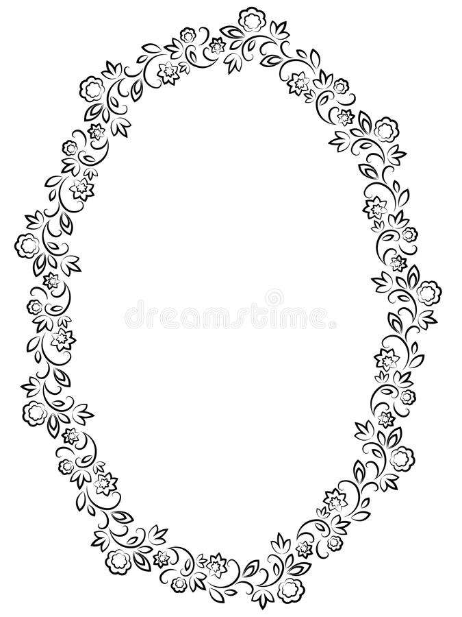 Vector Floral Oval Frame On White Background Stock Vector ...