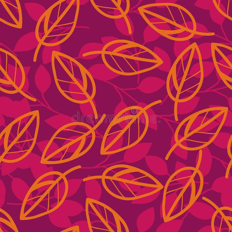 Vector floral pattern in decorative style. Purple branches and orange leaves on red background, seamless illustration stock illustration