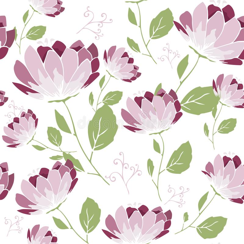 Vector floral pattern, delicate flowers pink flowers, greeting card template on a white background. Printing on fabric, wallpaper, royalty free illustration