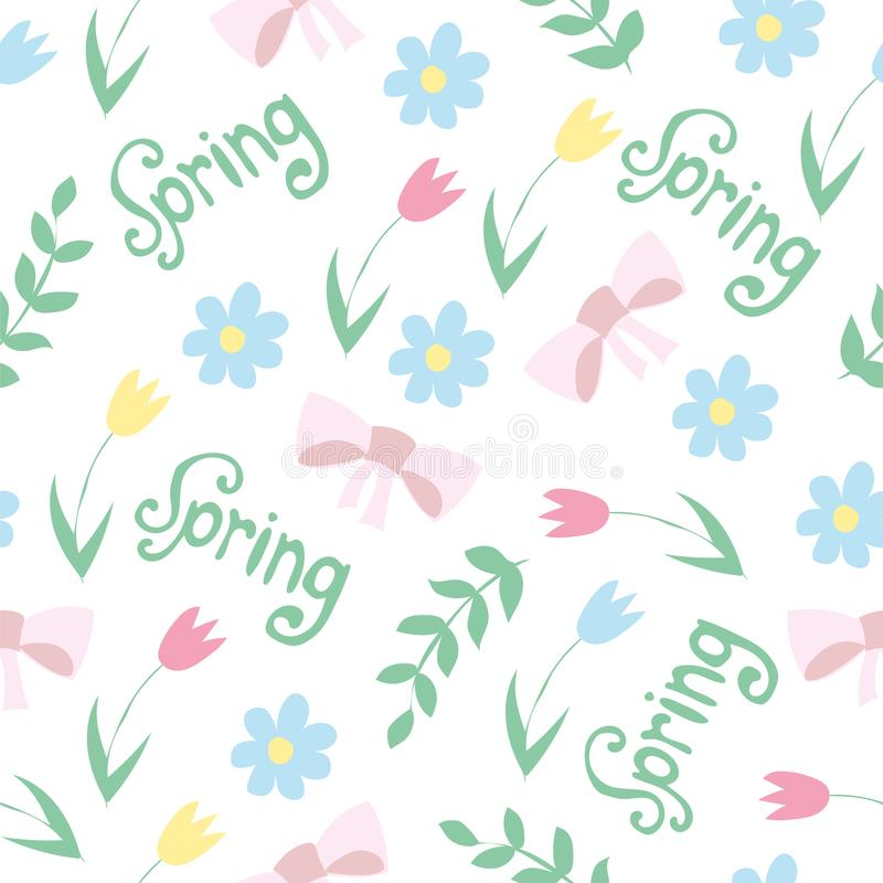 Vector floral pattern in doodle style with flowers and leaves. spring background royalty free illustration