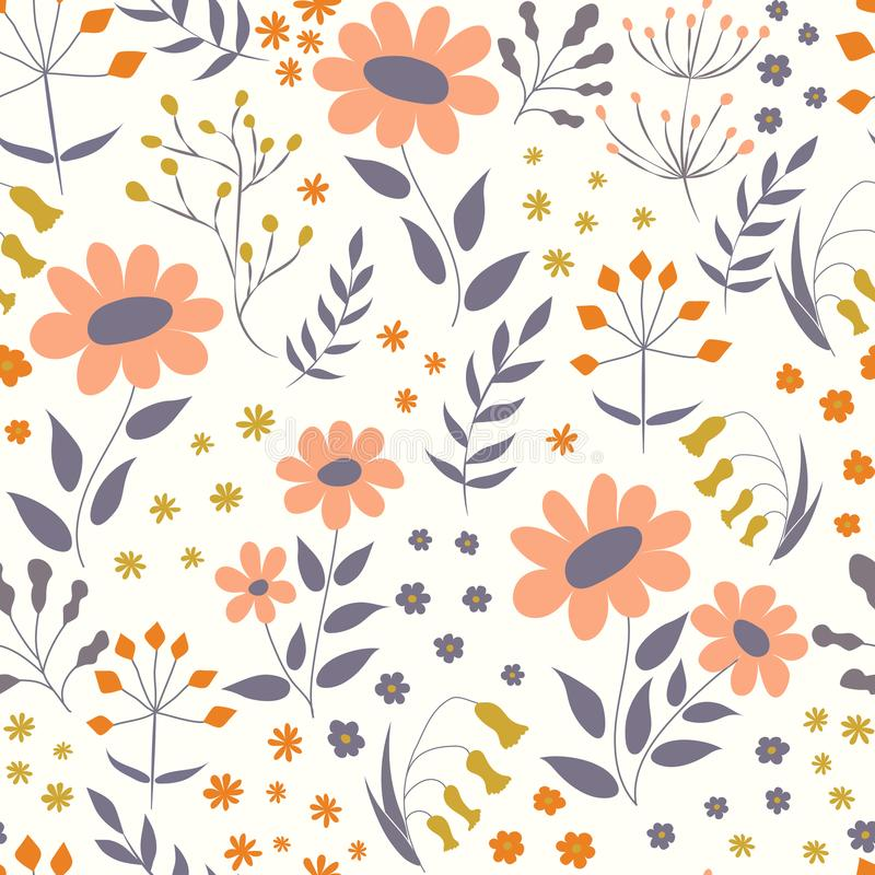 Vector floral pattern in doodle style with flowers and leaves. G royalty free illustration